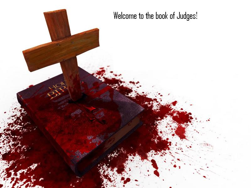 Cross stabbing bible bloody