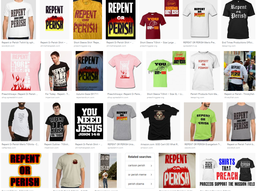 repent or perish shirts
