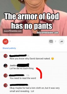 David did not dance naked