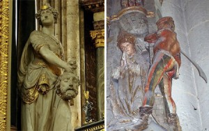 Decapitated heads in Amiens Cathedral