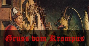 Krampus painting header with text