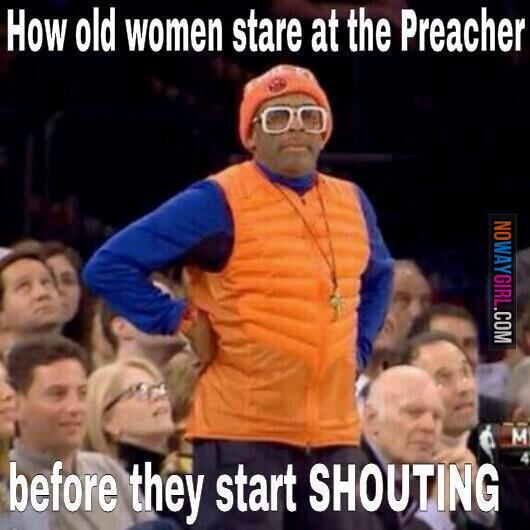 Old women at church christian meme