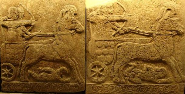 Orthostat relief in basalt battle chariot Carchemish