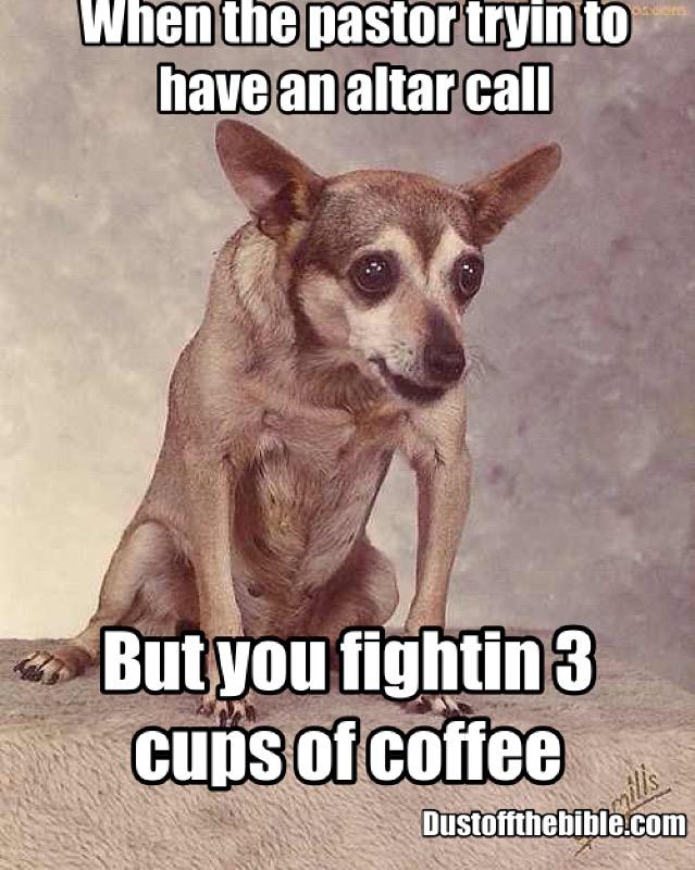 coffee in church christian meme