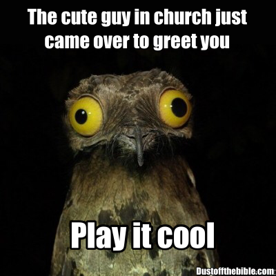 cute guy in church christian meme