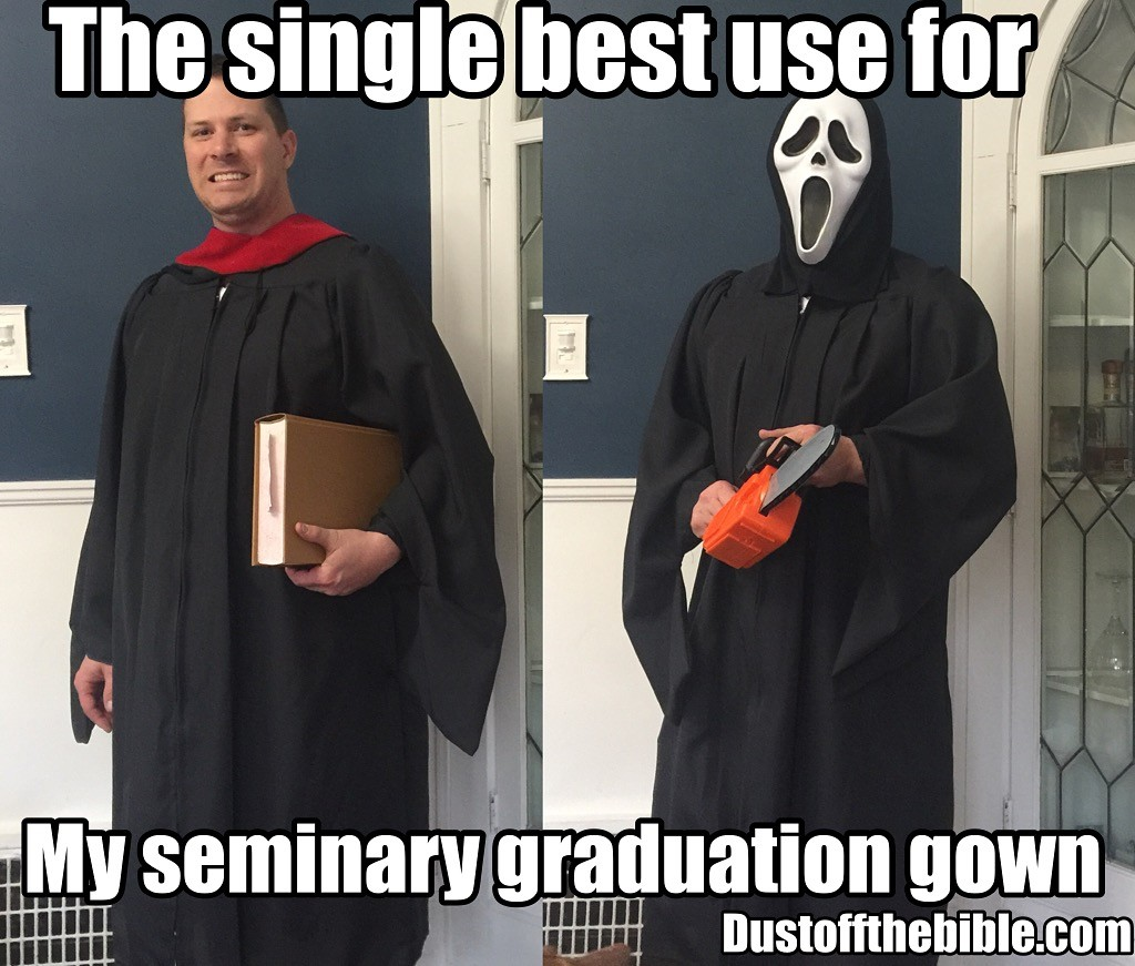 seminary grduation gown meme