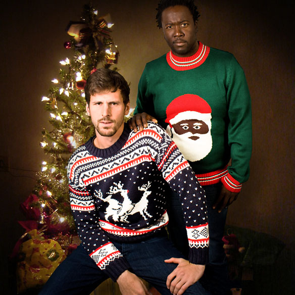 Christmas sweaters black Santa