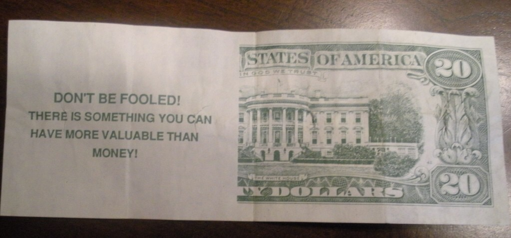 Fake money Bible tract