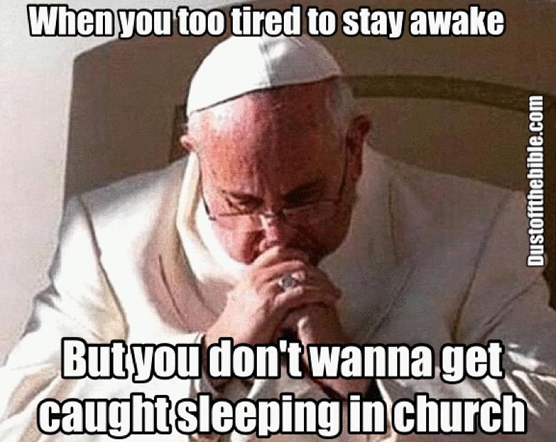 pope sleeping christian meme