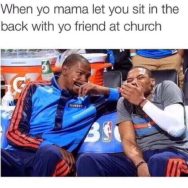 Sitting back of the church meme