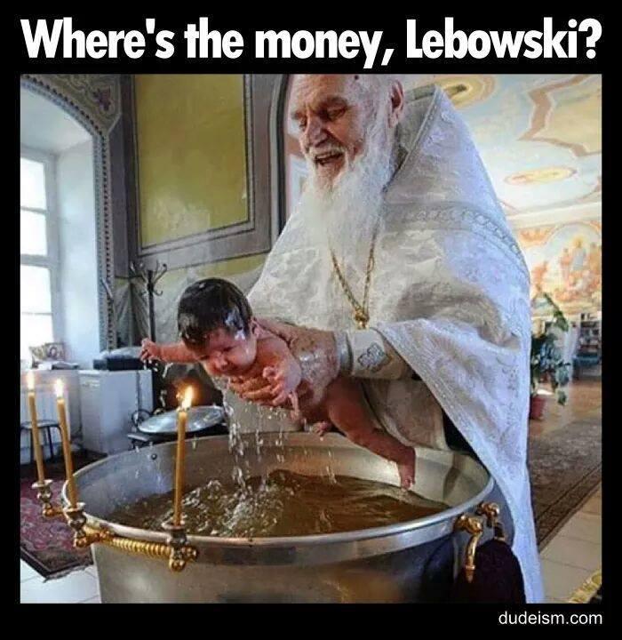 Baby baptism meme LeBowski