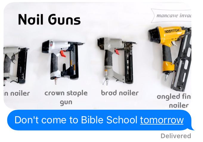 Guns in Bible school
