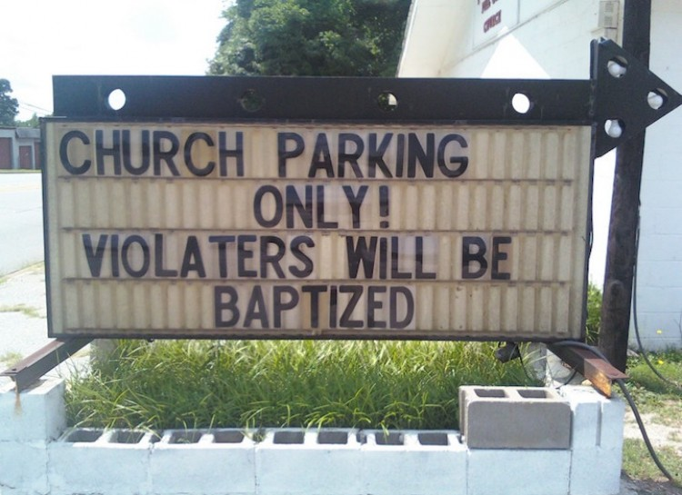 Church parking only church sign