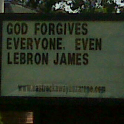 God even forgives LeBron James church sign