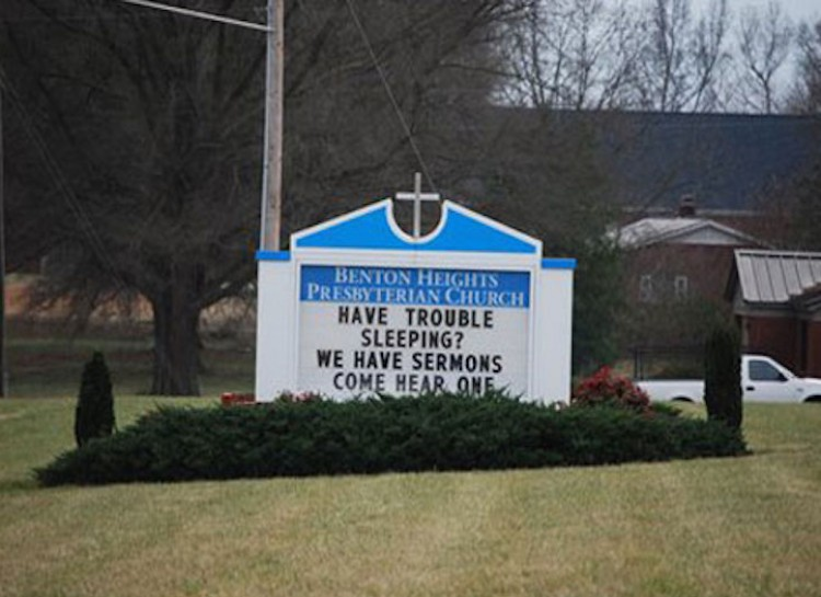 Having trouble sleeping? hear the sermon church sign