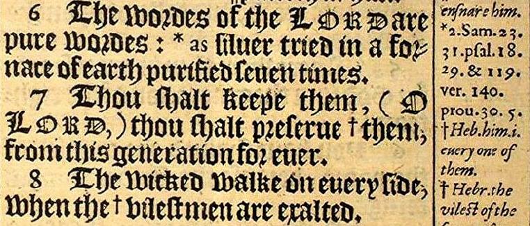 KJV 1611 Psalm_12.7_Margin note