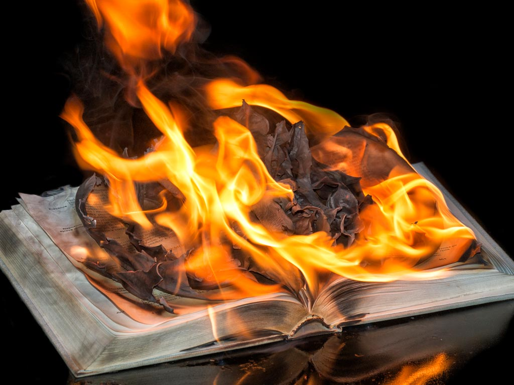 KJVO burning Bible