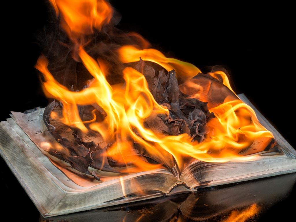 KJVO burning Bible