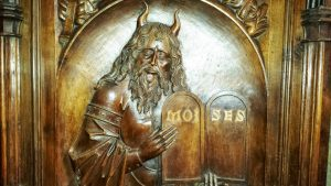 Moses with horns wood carving