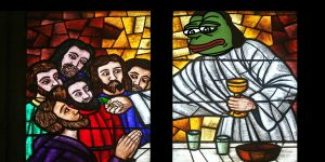 Pepe in stained glass