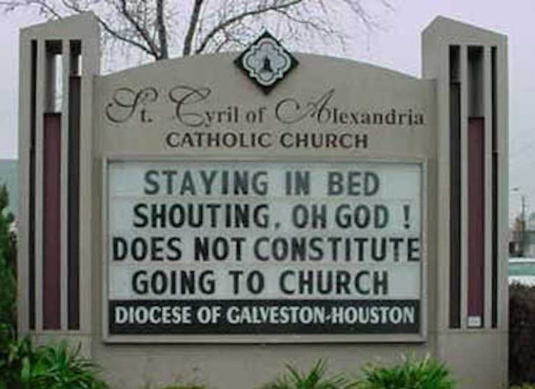 Staying in bed and shouting oh God church sign