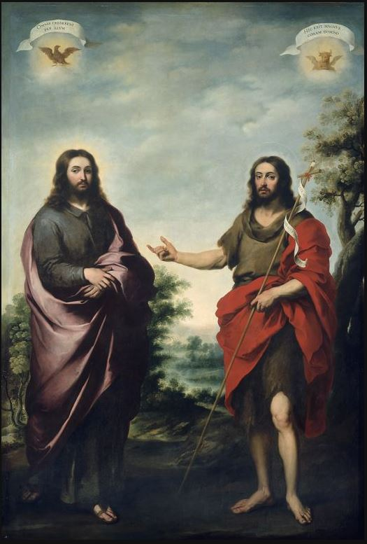 Saint John The Baptist Pointing To Christ by Batolome Esteban Murillo