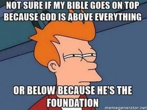 Where that Bible go meme