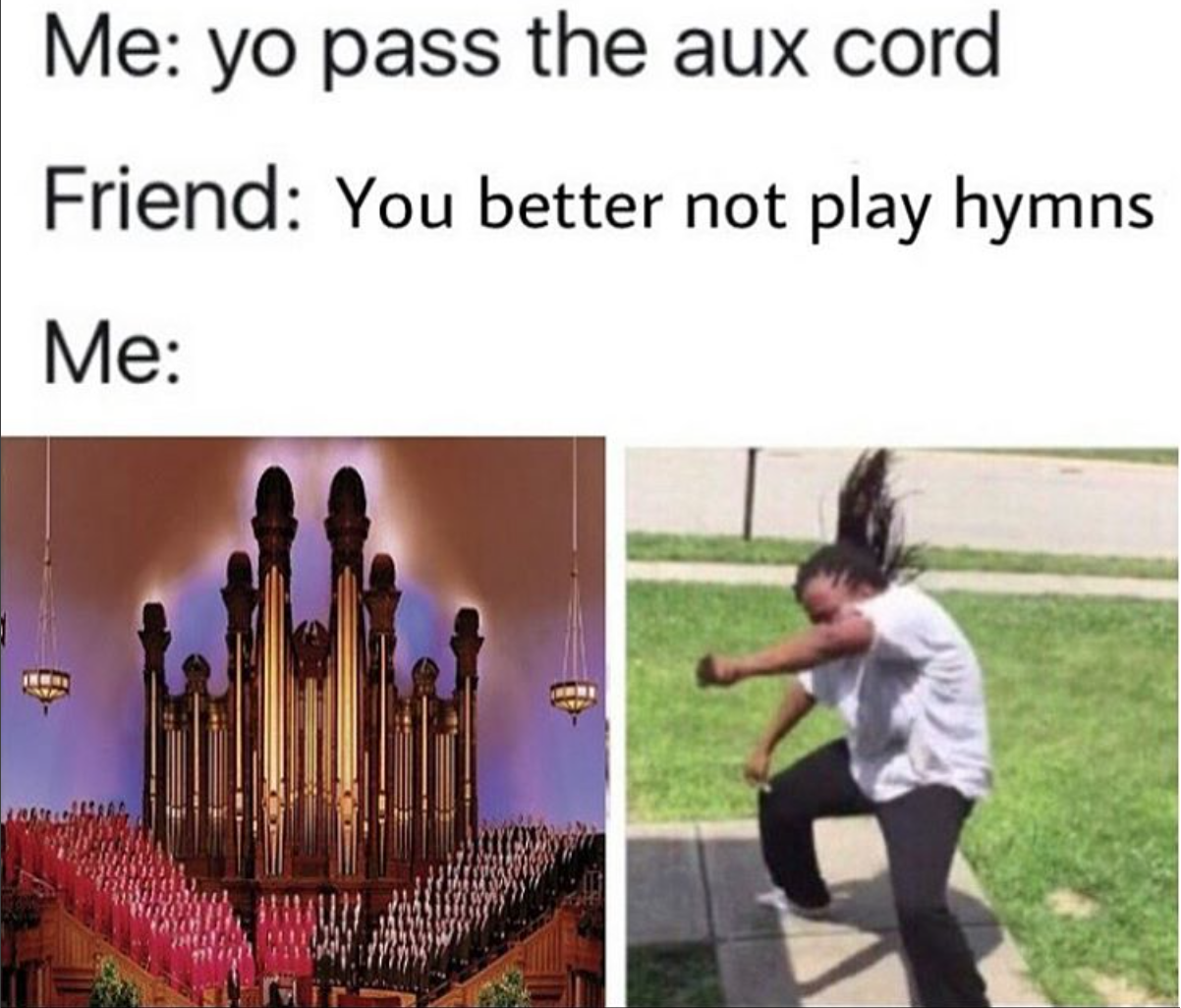 Pass the aux cord for hymns meme