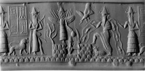 Ishtar in center of relief showing swords and wings