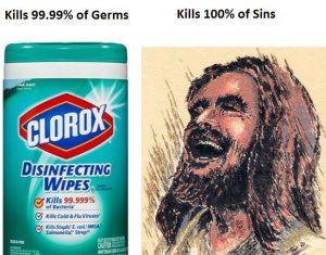 Disinfecting wipes vs Jesus