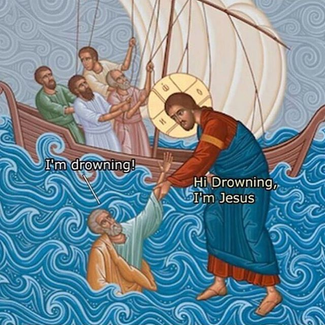 Hi drowning im Jesus meme