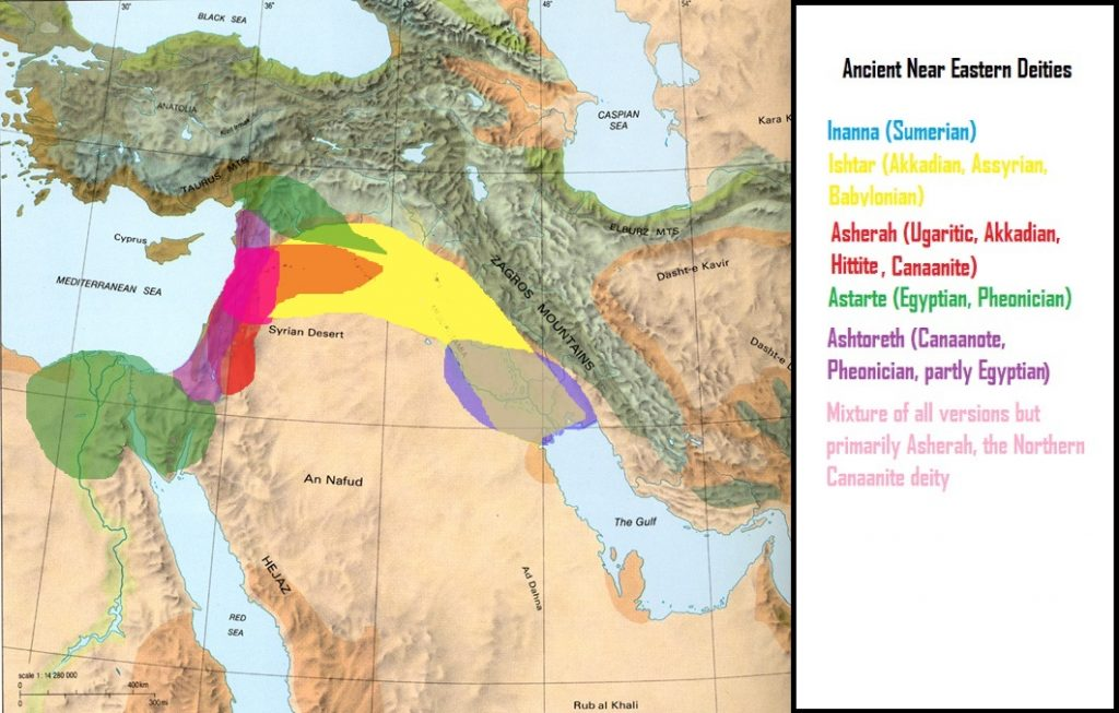 Levantine Map of Ishtar, Inanna,, etc