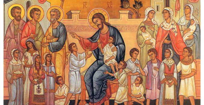 Christ with the children icon