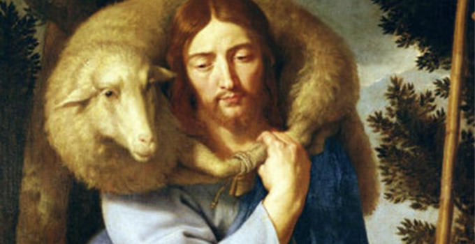 Jesus carrying lost sheep