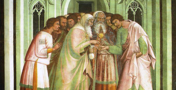Judas receiving payment for betraying Jesus, Lippo Memmi