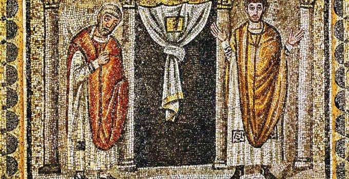 Parable of the Pharisee and the Tax Collector, basilica di santapollinare nuovo ravenna italy 6th century