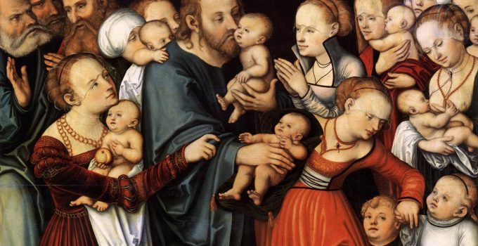 Suffer the Little Children to Come Unto Me by Lucas Cranach the Elder from Hamburger Kunsthalle