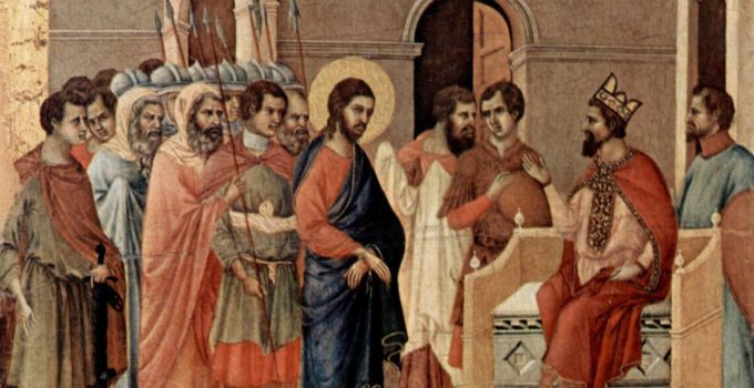 Jesus at Herod's Court, by Duccio, c. 1310