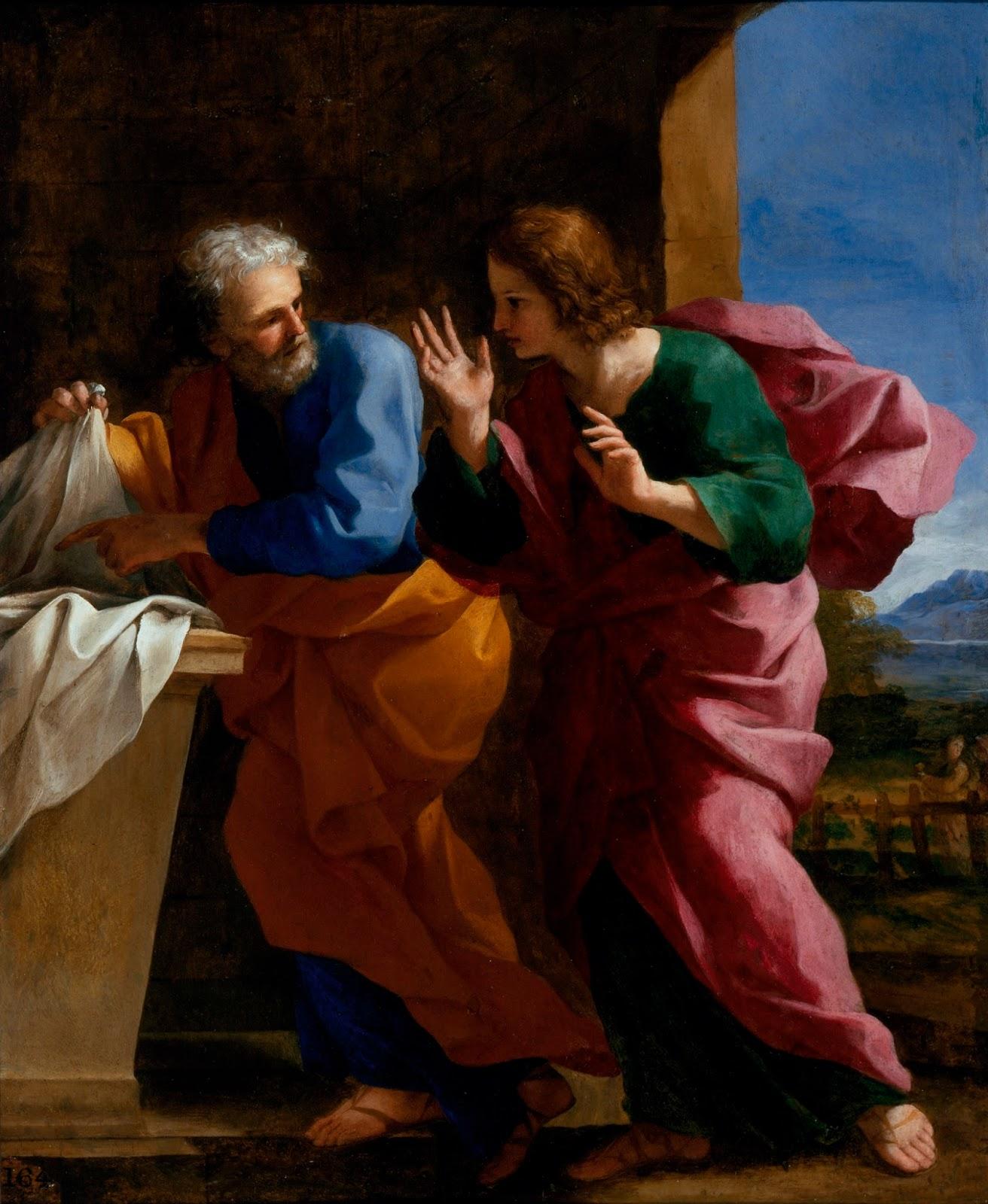 Սուրբ Հովհաննեսը և Սուրբ Պետրոսը Քրիստոսի գերեզմանի մոտ, Giովանի Ֆրանչեսկո Ռոմանելի, 1640