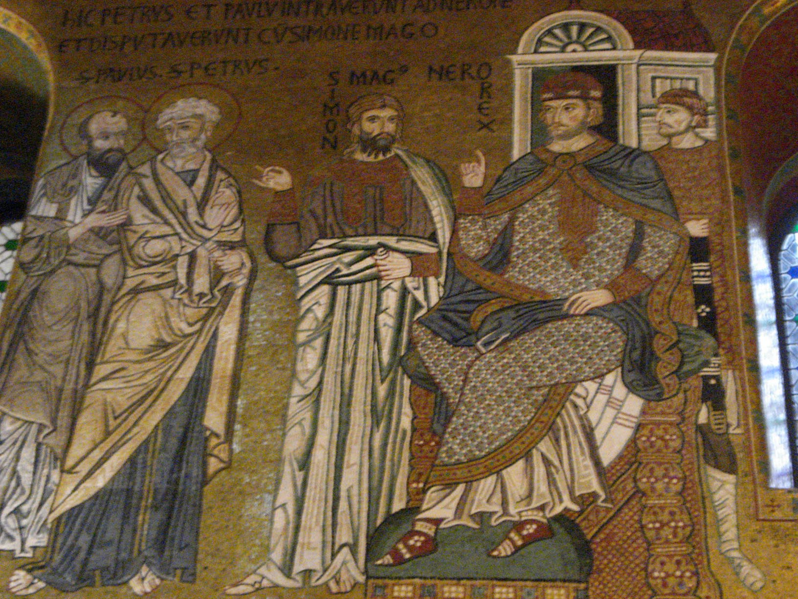 Mosaic showing Peter, Paul, Simon Magus and Nero