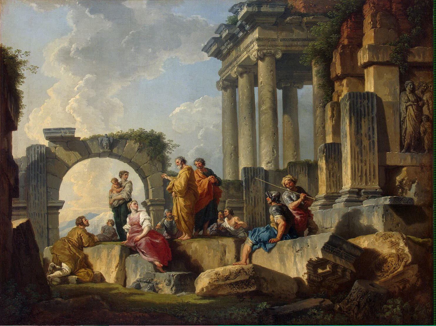 Giovanni Paolo Pannini - Sermon of St Paul amidst the Ruins, 1744