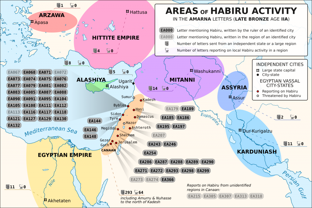 Areas Of Habiru Activity In Amarna Letters