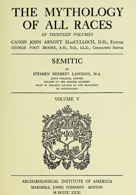 Mythology of All Races Vol V Semitic