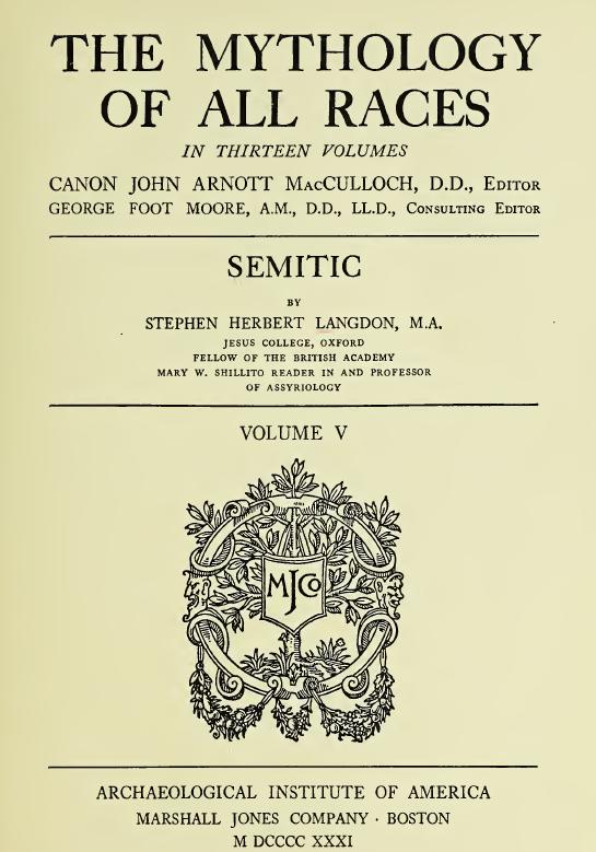 Mythology of All Races Vol V Semitic