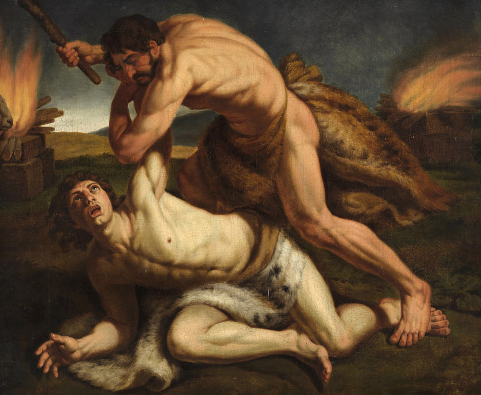 Cain killing Abel is a painting by Unknown 19th century